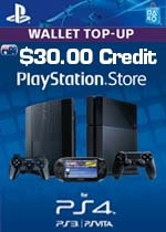 Playstation Store $30.00 Wallet Top-Up Digital Voucher