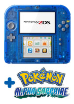 Nintendo 2DS Transparent Blue console + Pokemon Alpha Sapphire