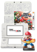 New Nintendo 3DS Console + Super Smash Bros. + Super Smash Bros. Cover Plate + Amiibo
