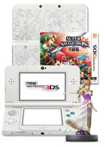 New Nintendo 3DS Console + Super Smash Bros. + Super Smash Bros. Cover Plate + Zelda Amiibo